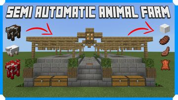 How To Build A Semi Automatic 4 Way Animal Farm Minecraft Map & Project