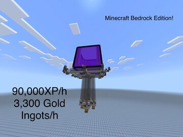 Fast Gold/XP Farm for Minecraft Bedrock Edition (90,000XP/h 3,300 Gold Ingots/h) Minecraft Map & Project
