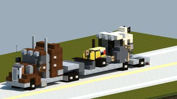 Peterbilt truck with Cat backhoe [With Download] Minecraft Map & Project