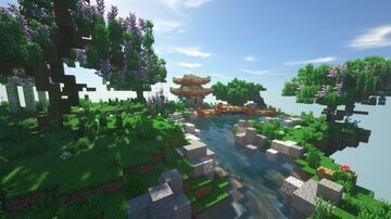 Japanese garden on a floating island Minecraft Map & Project