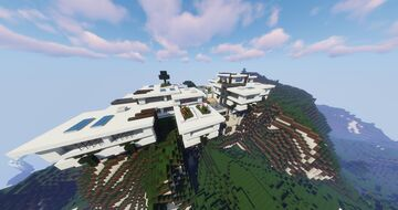 Giant Modern House on Cliffs Minecraft Map & Project