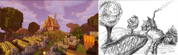Farmhouse build and inktober drawing Minecraft Map & Project
