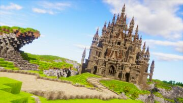 A castle towering in the blue sky Minecraft Map & Project