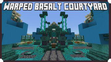 How To Build A Warped Basalt Village - Courtyard Minecraft Map & Project