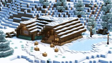 Minecraft: How to Build an Ice Rink Bar | Snowy Taiga Biome 🦌 Minecraft Map & Project