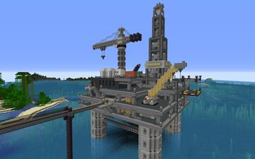 Oil Platform Rig w/ Guardian Farm Minecraft Map & Project