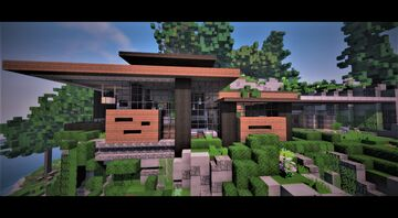 Modern house on hill | MFC | with interiors | Minecraft Map & Project
