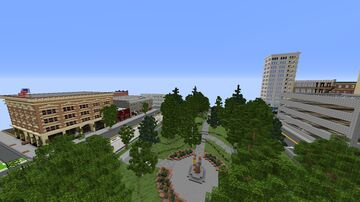 Voxton Vinning small park area in 1.5:1 buildings scale that has Portland, Oregon buildings and the park itself. Minecraft Map & Project