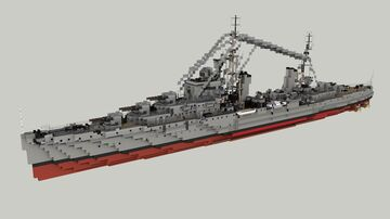 British Light Cruiser HMS Dido 1:1 Minecraft Map & Project