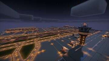 MASSIVE Airport with Aircraft, 2 terminals, cargo, ATC tower, train stations and MORE! Minecraft Map & Project