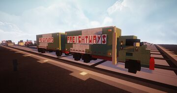 1.5:1 Scale 1947 Consolidated Freightways Freightliner Tandem Truck Minecraft Map & Project