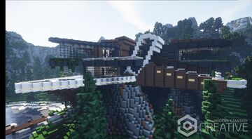 Modern Cliffside Villa | with interiors + download | MFC | edited Minecraft Map & Project