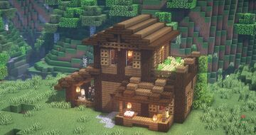 How to build a Survival House! Tutorial (Rustic House Design) Minecraft Map & Project
