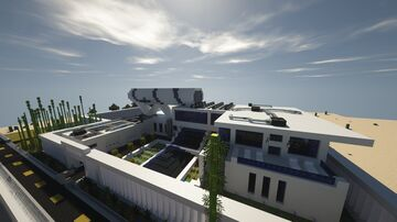 Large Abstract Modern Mansion - Blu's Mansion [Ocean Oasis Build] Minecraft Map & Project