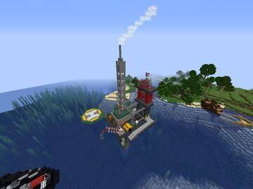 Oil Rig, Tugboat, and Underground Facility Minecraft Map & Project