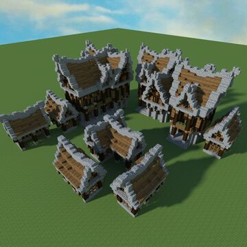 Medieval House Village Building Pack +tutorial Minecraft Map & Project