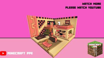 ⚒️ Minecraft : 🌸 Pink Modern Room TutorialㅣHow to Build a Pink Modern Room Interior Design Minecraft Map & Project