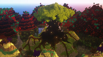 Giant Tree Portal Surrounded by Nether and End Biomes Minecraft Map & Project