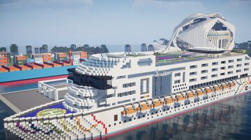 Cruise Ship & Palau les arts on luxe tropical island Minecraft Map & Project
