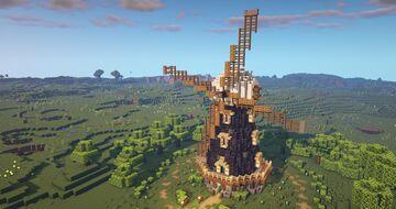 Minecraft Windmill - Tutorial - Realistic Minecraft Windmill Minecraft Map & Project