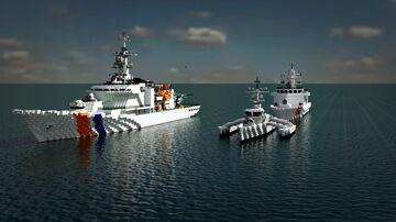Coast Guard Ship. CQ - 4000, TT 1500 & patrol boat BT-500 Minecraft Map & Project