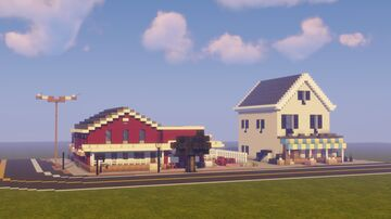 Small Town Building #2 - Pawn Shop, Flower Shop, and road! Minecraft Map & Project