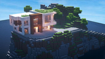 Modern House in island (with full  interior) [Download] Minecraft Map & Project