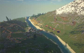 (UPDATED) Minecraft Town On custom map Minecraft Map & Project