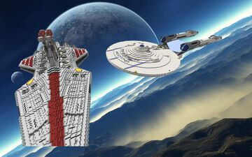 Venator vs. Enterprise Battle (Star Wars vs Star Trek) Minecraft Map & Project