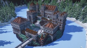 Gothic Style Castle Surrounded by an Icy Lake and Huge Mountains 1.16.3 Minecraft Map & Project