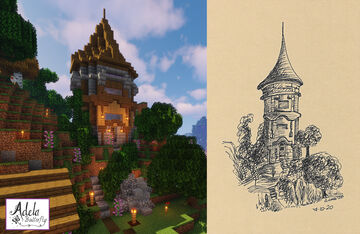Enchanting tower and inktober drawing Minecraft Map & Project