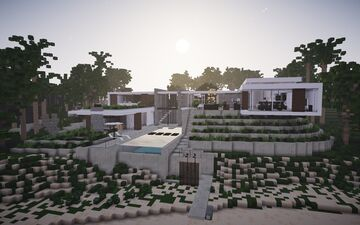 Modern Beachside Mansion ||BPN SERVER Minecraft Map & Project