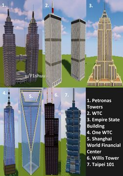 Seven Real-life skyscrapers (7 different saves) Minecraft Map & Project