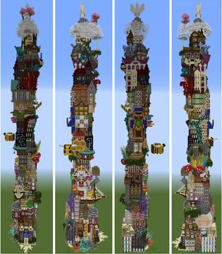 A tower containing various building styles Minecraft Map & Project
