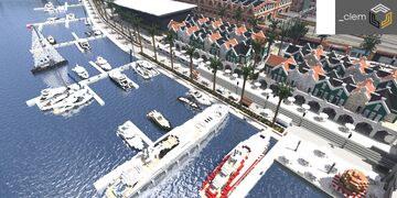 Amberstone City Marina, Station Street and Buildings Minecraft Map & Project