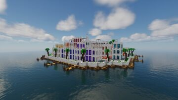 Colorful small town in the middle of the ocean Minecraft Map & Project