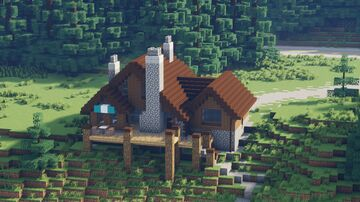 Mountain Log House - Montana (1:1 scale) Minecraft Map & Project