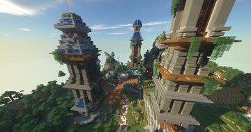 Natural Open Spawning Area with Shop, Portals, and Huge Garden Structure. Minecraft Map & Project