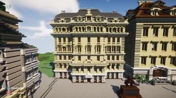 Austrian styled Victorian Bank Minecraft Map & Project