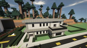 Modern Grey/Black Contemporary home & property (+Schematic) [Modern House 1] Minecraft Map & Project