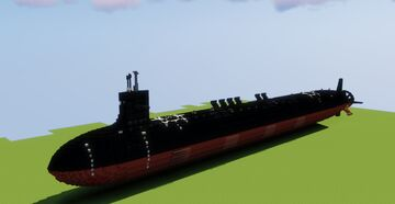(2:1 Scale Fictional Nuclear Submarine) USS Vinston SSN-822 Minecraft Map & Project