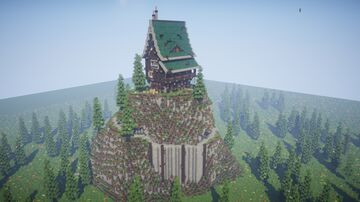 Mountain With Large Medieval Fantasy House Minecraft Map & Project