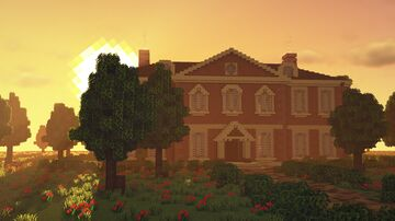 British/English Brick Manor [Spooky Halloween AND Schematic] Minecraft Map & Project