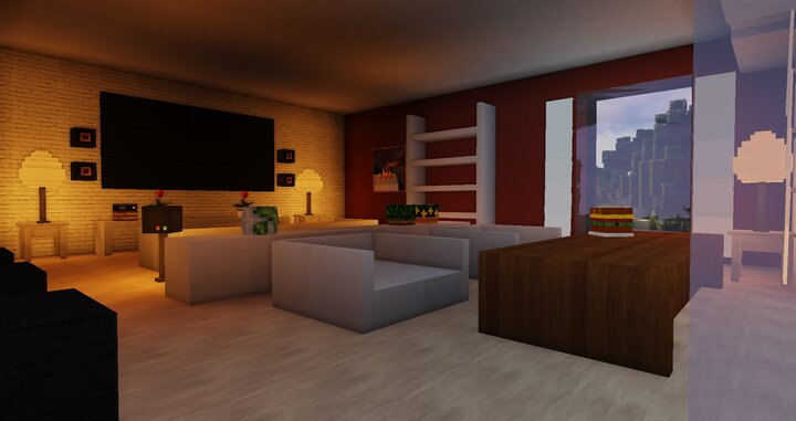 The main living room, featuring a large TV and surround sound system.