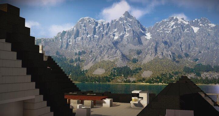 View of the mountain range across the lake