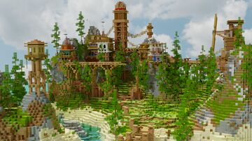 """Village on Island"" Minecraft Map & Project"