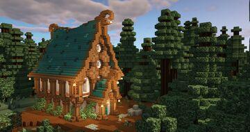 Minecraft FANTASY House - TUTORIAL - Minecraft Fantasy Villager Trading Hall Base Minecraft Map & Project