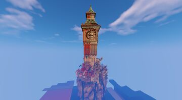 """""""When the clock tower is only half-working..."""" Minecraft Map & Project"""