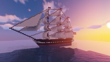 USS Constitution V1 (remake coming soon) (schematic and world) 1:1 scale Minecraft Map & Project