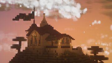 The Mediterranean Hermit - A tiny Romanesque house on a Savannah Peak Minecraft Map & Project